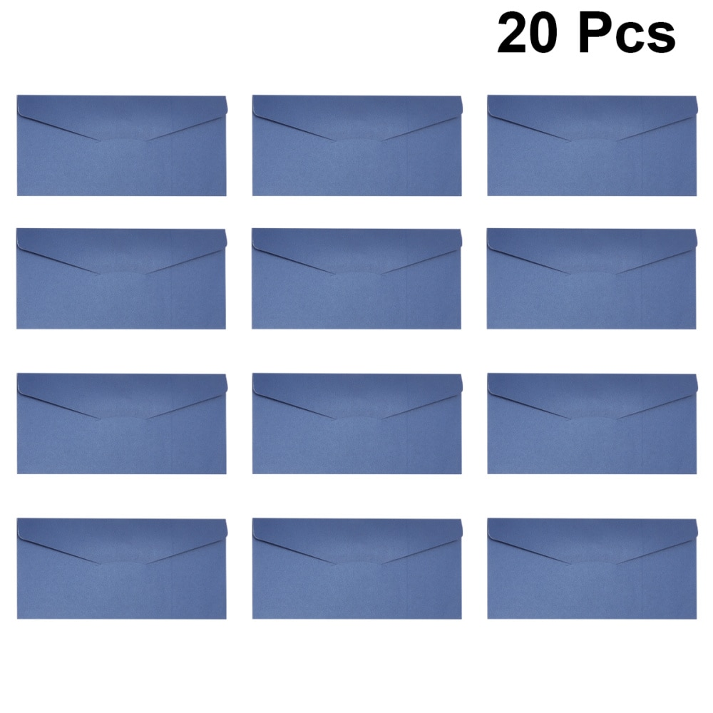 20PCS Paper Invitations Envelope Business Invitation Notification Letter Envelope (Blue)
