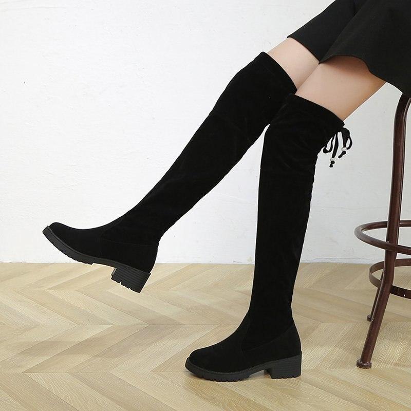 Moda sobre o Joelho Dedo do pé Sapatos de Salto Inverno Botas Femininas Redondo Quadrado Plutônio Plataforma Quente Longo Tubo Mujer