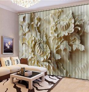 Window Treatment European Luxury Curtains relief flower Curtains For Bedroom 3D Window Curtain Living Room