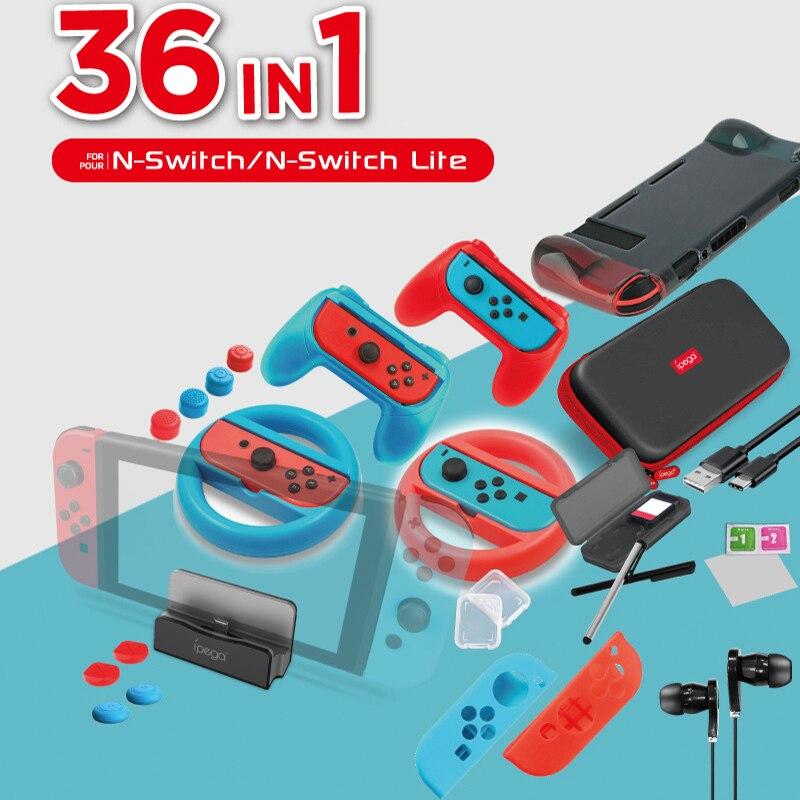 Conjunto de bolsas de almacenamiento 36 en 1 para interruptor Nitend NS con tapa para cargador de carcasa empuñadura de mano volante película templada tarjeta de juego caja Cable