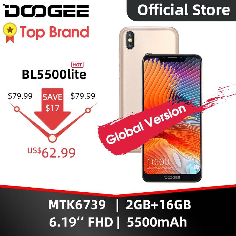 Doogee bl5500 lite u-entalhe smartphone 6.19 polegada mtk6739 quad core 2gb ram 16gb rom 5500mah sim duplo 13.0mp + 8.0mp android 8.1