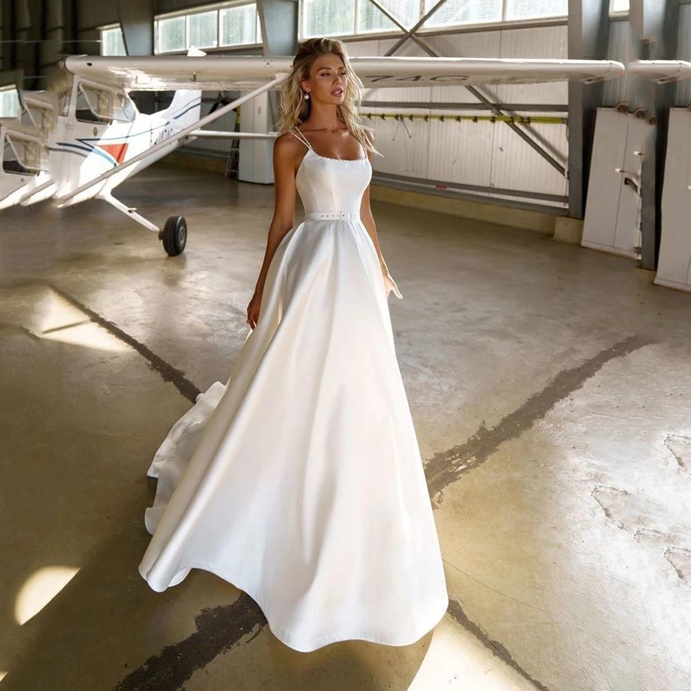 Get ANNA-BEAUTY Store Hot Sale Elegant Beading Square Collar  A Line Satin Boho Long Princess Bridal Wedding Dresses For Women