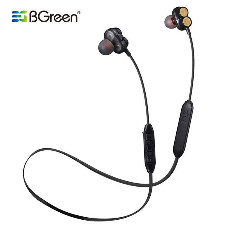 BGreen deportes a prueba de agua auriculares Bluetooth altavoz Dual auriculares inalámbricos estéreo con micrófono 4 transductor auriculares bajos