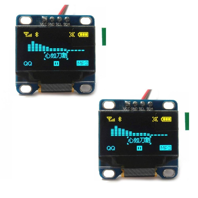 blue white oled lcd display 0 91 inch 128x32 iic i2c serial diy module ssd1306 driver ic 0 91 12832 ssd1306 for arduino pic 2pcs 0.96 inch IIC Serial White OLED Display Module 128X64 I2C SSD1306 12864 LCD Screen Board GND VCC SCL SDA 0.96 for Arduino