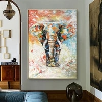 hand painted oil painting modern abstract canvas painting on animal elephant migration asian elephant home decoration wall art