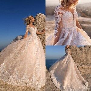 New Arrival Lace Wedding Dresses Appliques Pearls Long Sleeve Boho Wedding Gowns Custom Made Bohemian Robe De Soiree