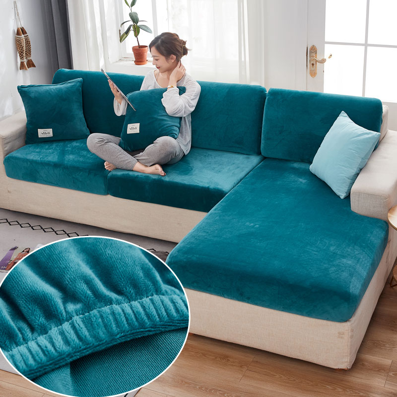 Velvet sofa seat cover cushion cover thick Jacquard solid soft stretch sofa slipcovers funiture protector