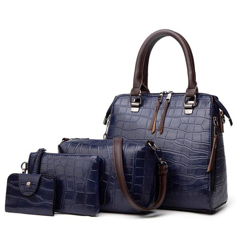 Bolso de cuero con patrón de 4 Uds para mujer, bolso cruzado, bolso mensajero, paquete de tarjeta, cremallera sólida, conjunto de bolsos de mujer
