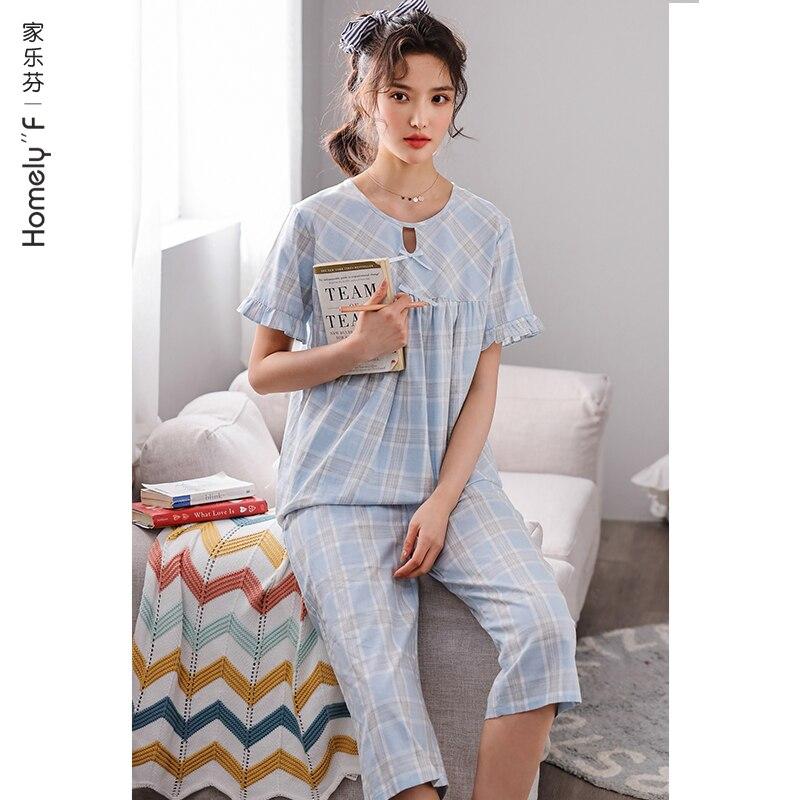 منامة المرأة الصيف القطن قصيرة الأكمام Homewear الصيف رقيقة القطن الشاش اليابانية لطيف الحلو الأميرة نمط