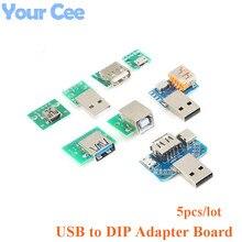 5 pièces USB à DIP carte adaptateur carte Pin Micro/Mini/port USB mâle et femelle tête 2.0/3.0/3.1 type-c à DIP carte convertisseur