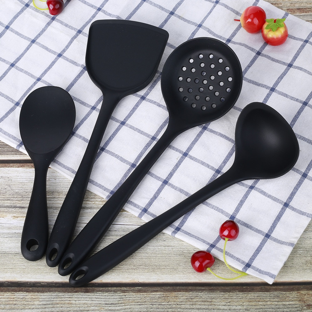 Nonstick Silicone Cookware Set Cooking Home High Quality 4 Pcs Cookware Set Cute Dinner Black Tencere Seti Kitchen Wares EI50CW