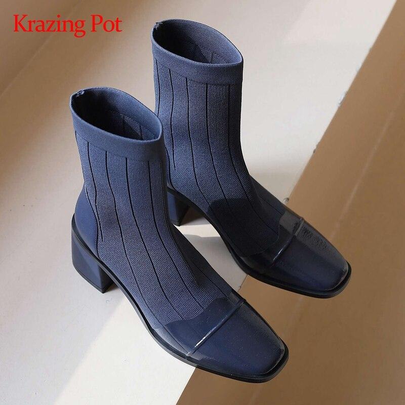 Kraize-بوت جورب منسوج للبنات ، حذاء موكاسين بكعب عالٍ ومقدمة مربعة ، سهل الارتداء ، للاستخدام اليومي ، L86