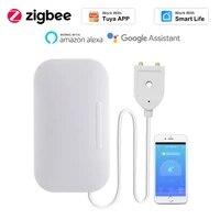 Tuya     capteur de fuite deau intelligent Zigbee 3 0  alarme de debordement domestique  detecteur dinondation  automatisation  fonctionne avec Alexa Google Home