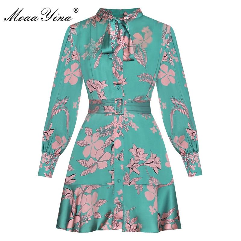 MoaaYina الأزياء مصمم المدرج اللباس الربيع الخريف النساء اللباس الأزهار المطبوعة الدانتيل متابعة البسيطة فساتين