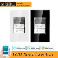 Interrupteur mural intelligent LCD Wifi  110 220V US  consommation electrique  fonctionne avec Alexa  Google Home  Apple Homekit  Siri
