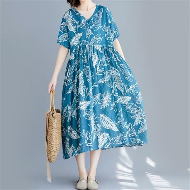 خمر كم قصير فضفاض طباعة فستان للنساء 2020 الصيف موضة كبيرة الحجم الخامس الرقبة فستان واسع من الكتّان والقطن منتصف العجل فستان