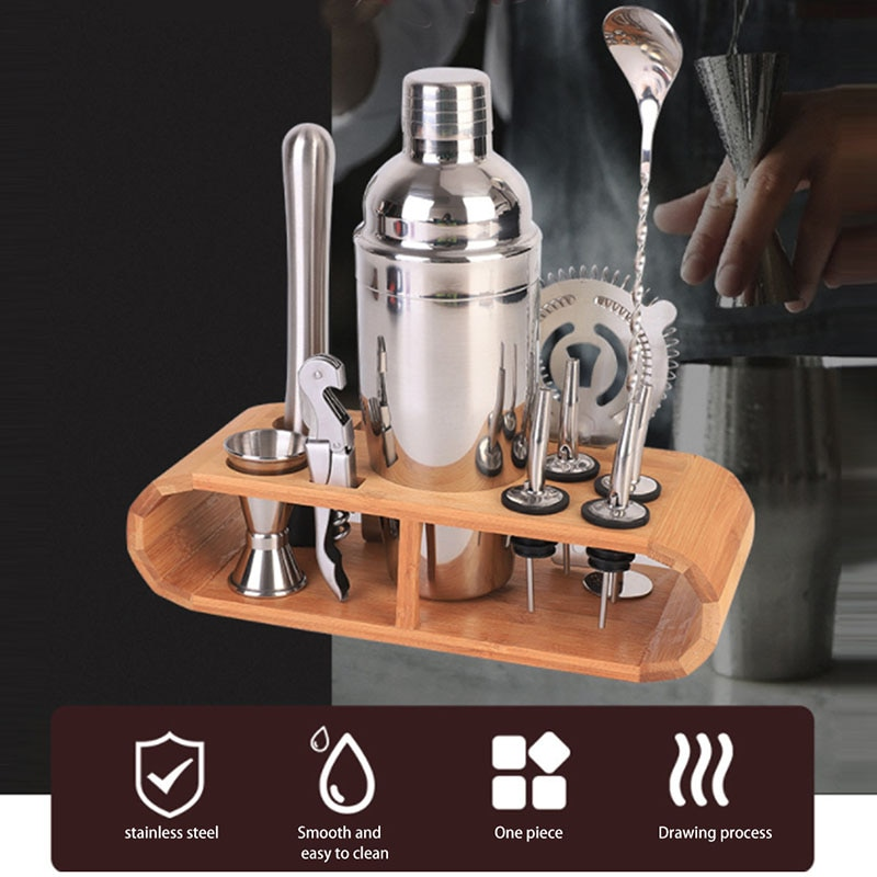 12 pçs/set aço inoxidável cocktail shaker mixer kit bar bebida bartender browser kit barras bartender ferramentas uísque pedras fornecer