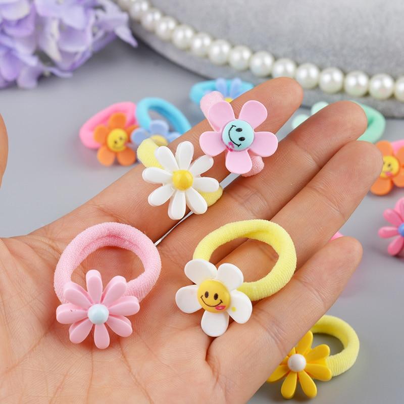 10 шт., милый головной убор принцессы с цветами, детский головной убор, аксессуары для волос для девочек, детские эластичные резинки для волос, Детские веревки для волос
