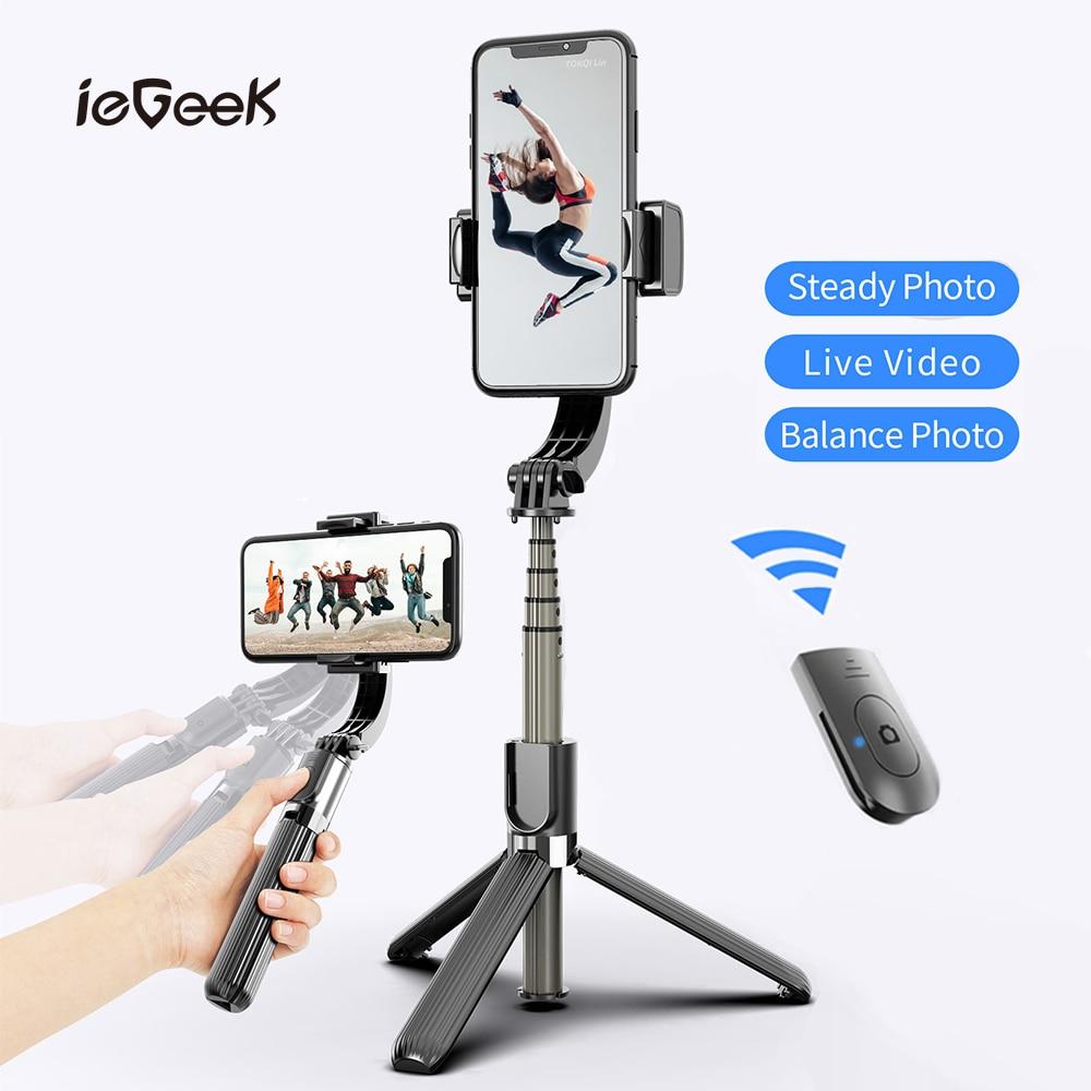 L08 Bluetooth stabilisateur de cardan tenu dans la main trépied téléphone portable Selfie support de bâton réglable sans fil enregistrement vidéo Selfie Stander