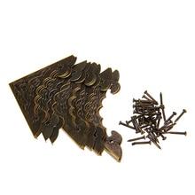 Protecteur dangle en forme de chauve-souris   12 pièces, boîtier en bois, protection dangle pour bijoux en laiton Antique, boîte-cadeau, coins de protection coin pied en métal avec vis