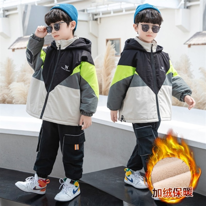 Boys autumn clothing fleece padded coat fashionable thickened middle and big children parka children's cotton wear winter enlarge