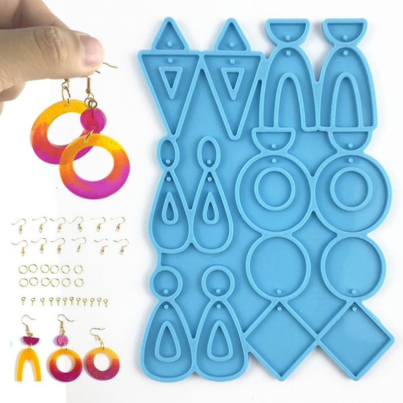 Earrings Epoxy Resin Silicone Molds Ear Studs Dangle Casting Resin Mold DIY Craft Earrings Mould Jewelry Pendants Making Tools gemstone jewelry silicone mold is suitable for resin epoxy resin diy craft earrings pendant earrings jewelry making