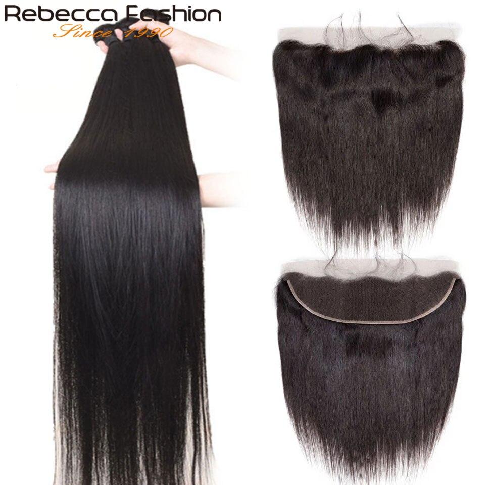 ريبيكا-وصلات شعر برازيلية طبيعية ، وصلات شعر مستقيمة ، مع غطاء دانتيل ، 13x4 ، مع شعر الطفل