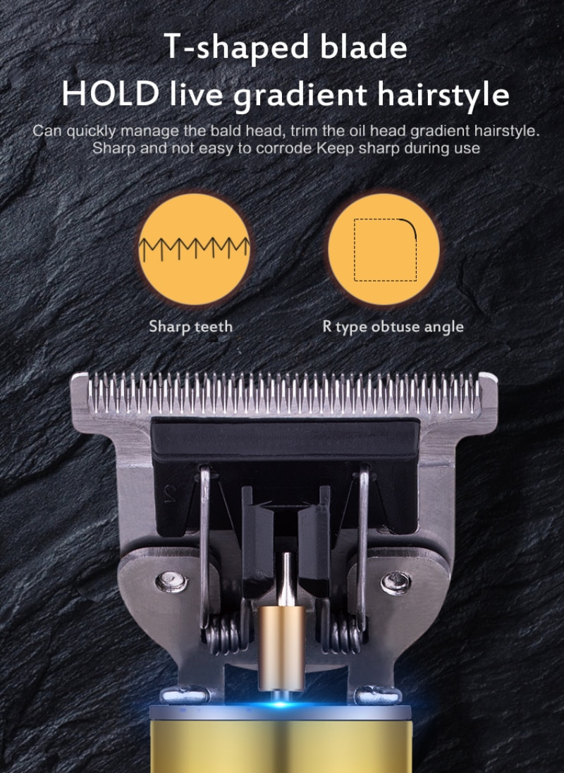 Electric Hair Trimmer Solid Color Metal Cordless LED Display Hair Cutting Machine Professional USB Beard Trimmer enlarge