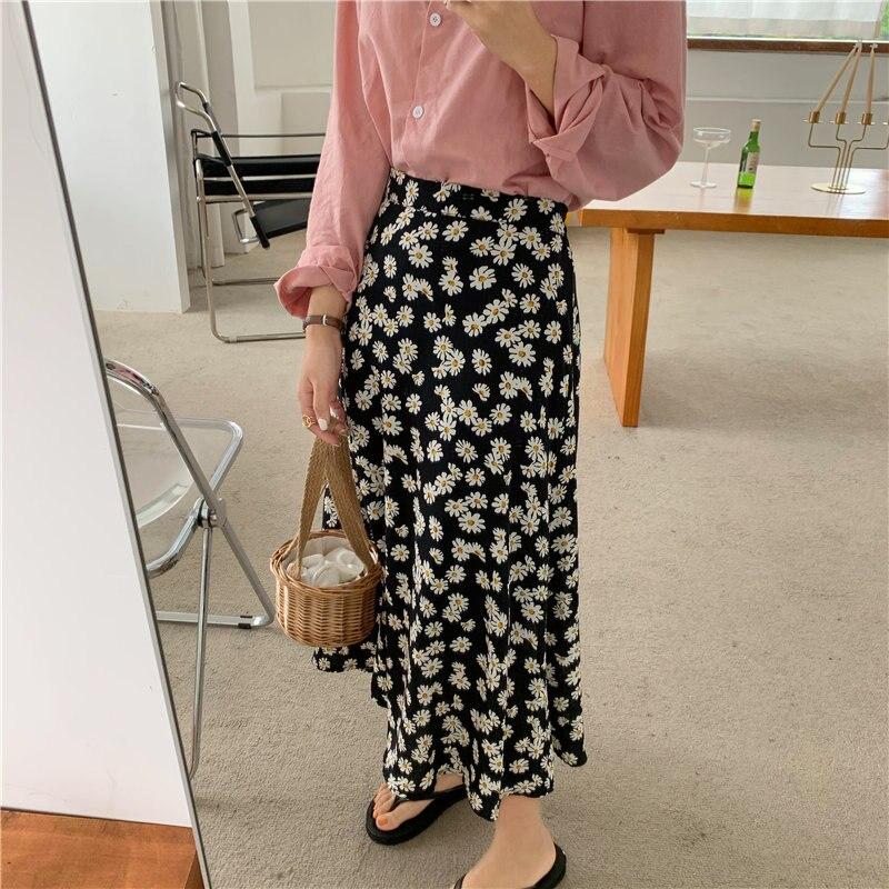 Hzirip estampado de margaritas combina con todo Vintage 2020 cintura elástica mujeres elegante alta cintura Oficina Señora Dulce Retro faldas largas