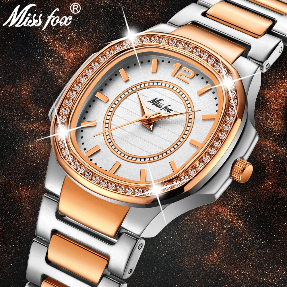 MISSFOX Women's Fashion Watch Three Hand Quartz Movt Nano Vaccum Rose Gold Plated Ladies Wrist Watch Waterproof Female Watches
