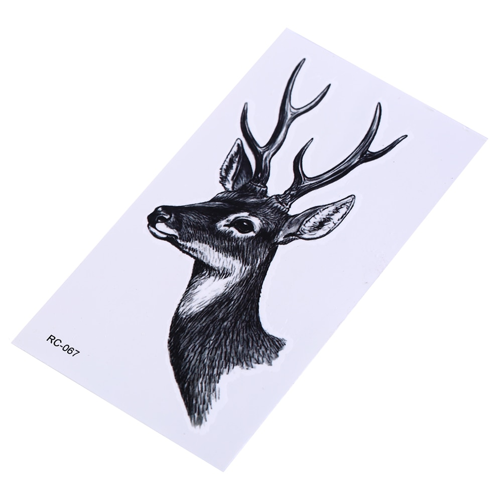 10,5*6 cm tatuaje temporal a prueba de agua cabeza de alce ciervos cuernos henna tatto flash tatuajes falsos para hombres mujeres