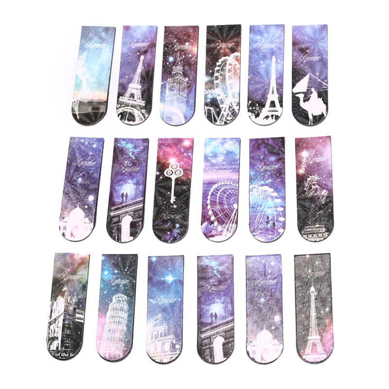 6 Pcs/lot Vintage Eiffel Tower Paper Bookmark Creative Magnetic Book Marks Korean Stationery Student