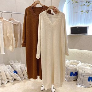 Oversized Loose Knitted Women Dresses Long V-Neck Straighe Knee-Length Lady Elegant All Match Clothing Pulls Top Quality