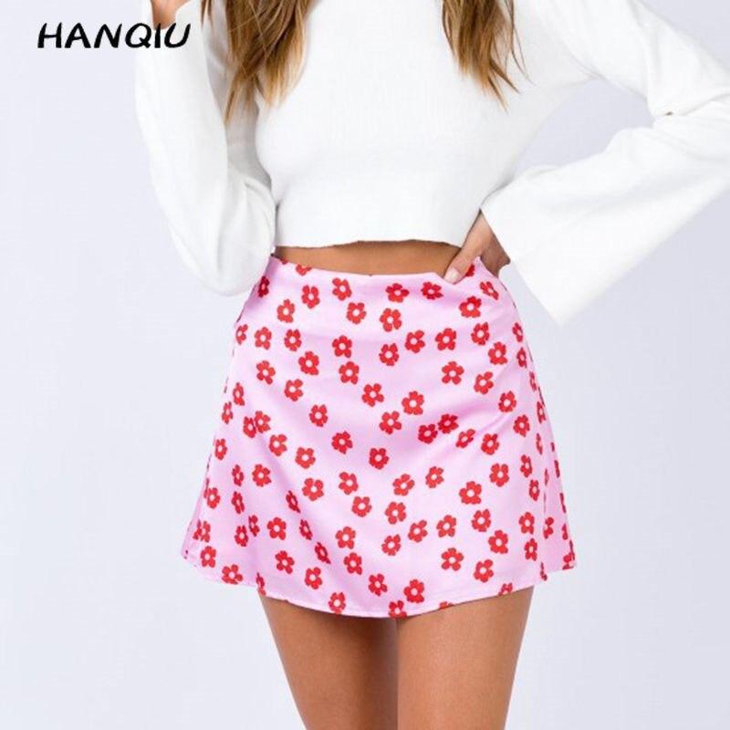 Summer mini skirts elegant high waist skirt pink floral satin skirts short kawaii boho skirt womens sexy skirs korean fashion
