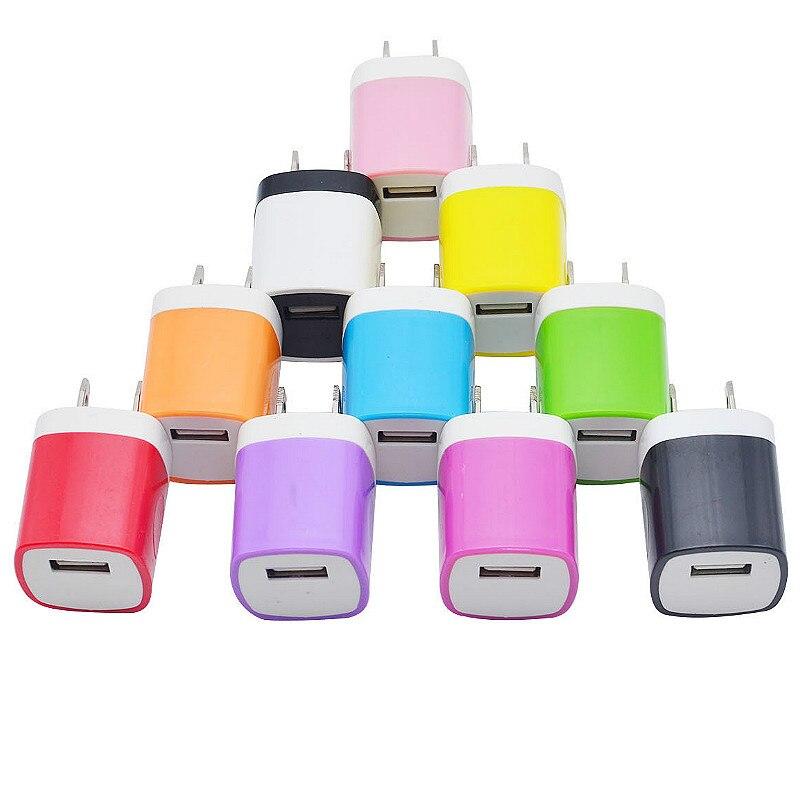 Colorido cargador de teléfono móvil 5V 1A carga tamaño pequeño para Iphone 8 Plus Samsung Galaxy S9 + Huawei Mate 20 X cargador de pared Usb