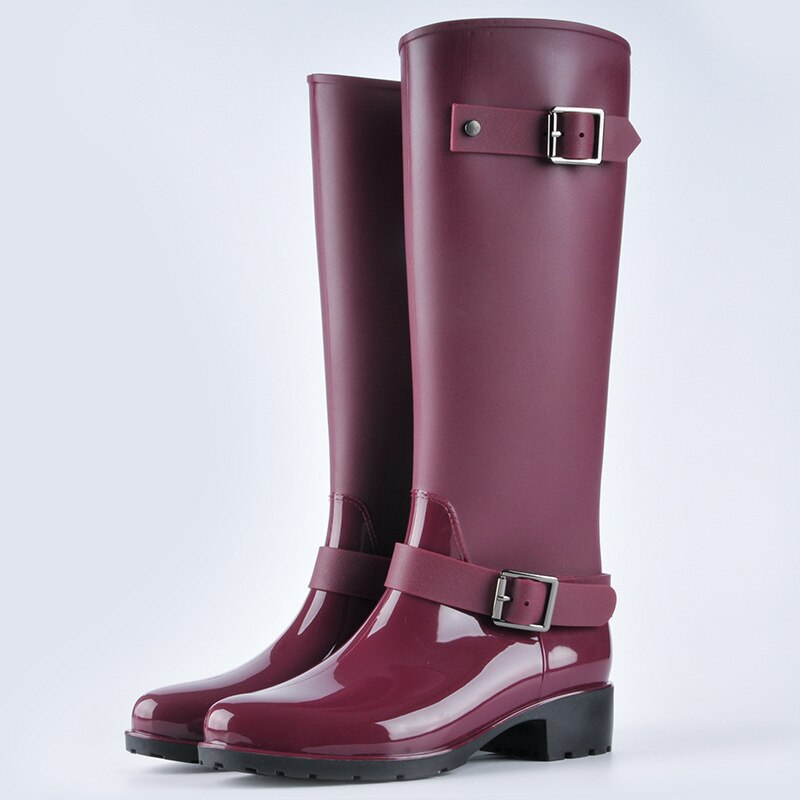 New Fashion Womenproof Rain Boots Non-Slip Long Tube Water Shoes Korean Mid-Tube Adult
