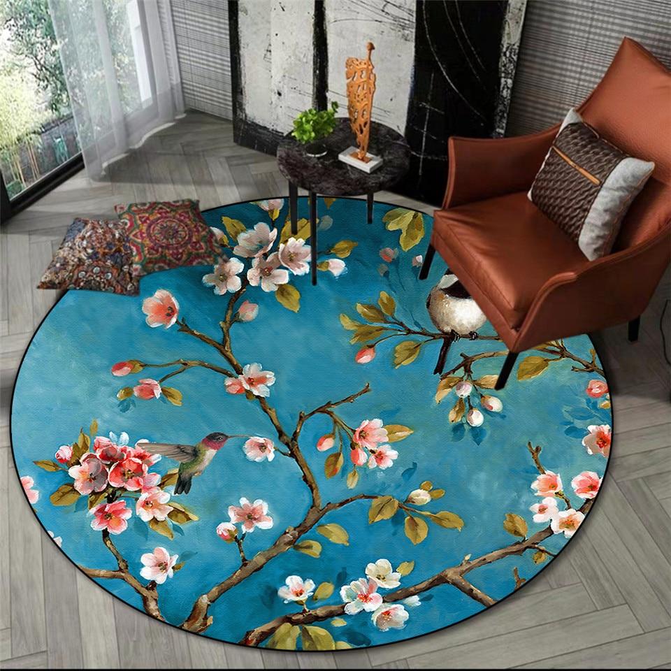 سجادة ريترو على الطراز الأمريكي مع طبعة زهور وطيور ، سجادة ريفية مستديرة زرقاء ، لغرفة المعيشة وغرفة النوم ، ديكور كرسي