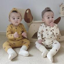 Bébé automne à manches longues maison vêtements costume garçons filles bande dessinée couverture en coton + pantalons longs 2 pièces imprimer pyjamas sous-vêtements tenues ensemble