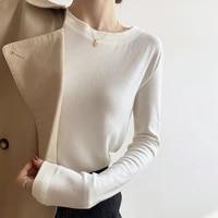 autumn winter plus velvet warm top womens pure cotton korean fashion bottoming shirt basic long sleeved womens clothing