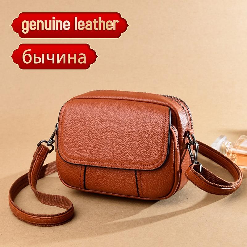 حقيبة يد نسائية من جلد البقر الأصلي ، حقيبة كتف من الجلد الطبيعي ، نمط غير رسمي ، عصرية