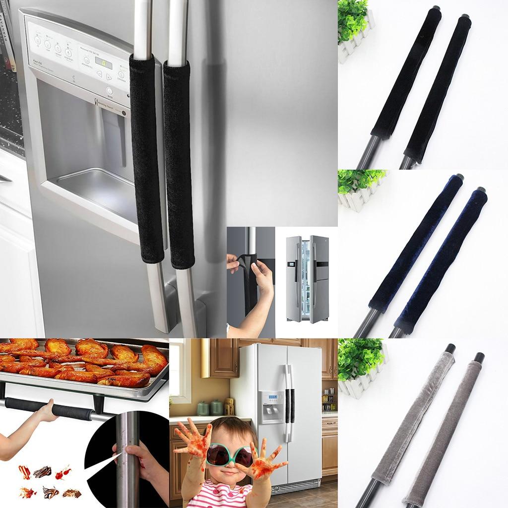 Manija de la cubierta de la puerta del refrigerador electrodoméstico manijas de decoración guantes protectores antideslizantes para el horno de la nevera mantener lejos de las huellas dactilares