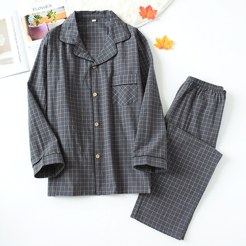New Water-washed Cotton Long Sleeved Trousers Mens Pajamas Spring and Autumn Lapel Pure Cotton Pijama Mans Nightwear Sleepwear