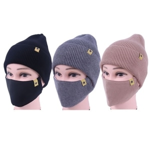 2 In 1 Winter Warm Knitted Beanie Hat Face Mask Set Windproof Cuffed Skull Cap
