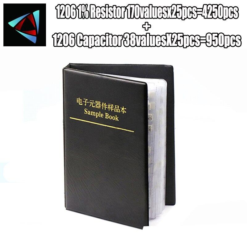1206 مقام كاشف التسرب 0R ~ 10M 1% 170Valuesx25Pcs = 4250 قطعة + مكثف 80ValuesX25Pcs = 950 قطعة 0.5PF ~ 22 فائق التوهج عينة كتاب