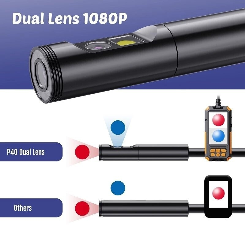 P40 4.3inch 1080P 8mm Dual Lens Wireless Endoscope Camera Industrial Borescope IP68 Waterproof with 9 LED Light enlarge