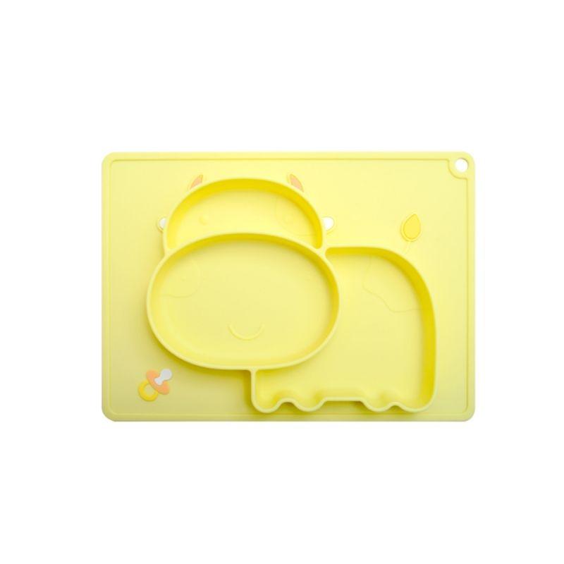 Vaca dos desenhos animados anti derrapante silicone placa de comida tigela bebês crianças bandeja de alimentação não-odor fácil limpeza acessório doméstico