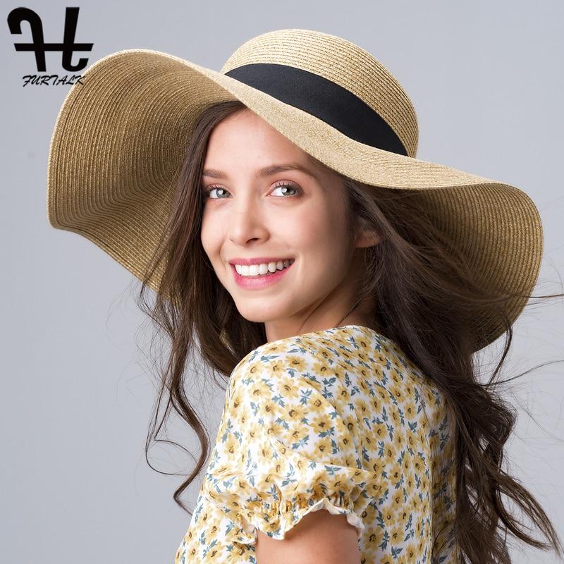 Sombrero de verano para mujer, sombrero de paja de ala ancha, sombrero de sol de playa, plegable, enrollable, disquete UPF 50, gorro de protección solar 2020