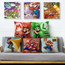Fundas de cojín de coche con dibujos animados coloridos de Super Mario para decoración del hogar