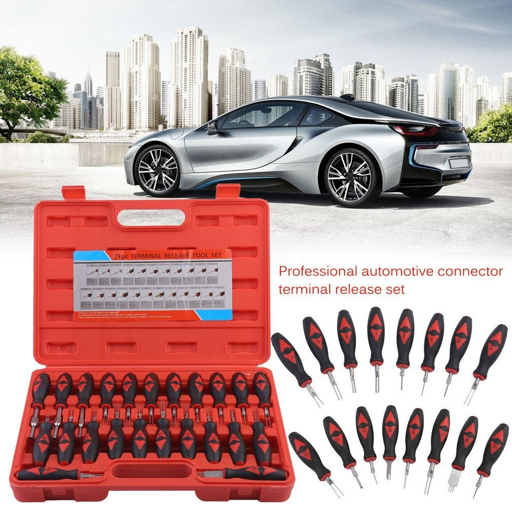 Universal Automotive Terminal Removal Tool Car Electrical Wire Clamp Pin Extractor Professional Connector Terminal 23pcs/set enlarge