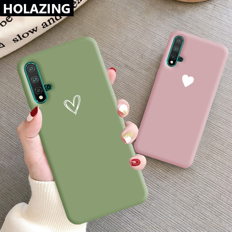 Carcasa suave de TPU de Color caramelo para parejas de corazones y Gel para Huawei Nova 7i 6 SE Nova 5T 4E 3E 3i 3 funda antiarañazos